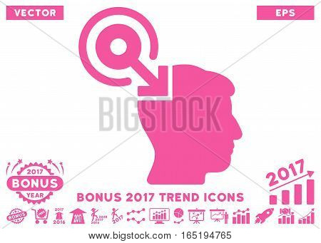 Pink Brain Interface Plug-In pictogram with bonus 2017 year trend pictograph collection. Vector illustration style is flat iconic symbols white background.