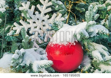 Large red Christmas balls on snow-covered fir branch in city park