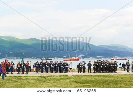 NOVOROSSIYSK RUSSIA - MAY 08.2016: a Solemn meeting on the eve of the anniversary of the victory in the war on the territory of the memorial