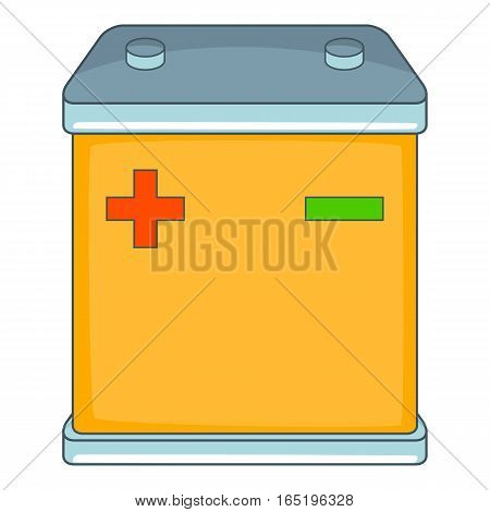 Car battery icon. Cartoon illustration of car battery vector icon for web
