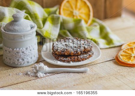 Cookies On The Plate With Sugar Powder