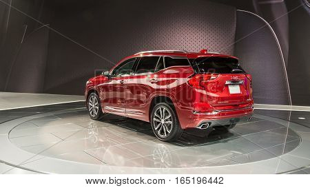 DETROIT MI/USA - JANUARY 10 2017: A 2018 GMC Terrain SUV at the North American International Auto Show (NAIAS).