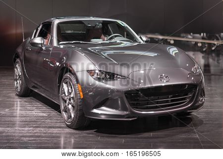DETROIT MI/USA - JANUARY 9 2017: A 2017 Mazda Miata MX-5 car at the North American International Auto Show (NAIAS).