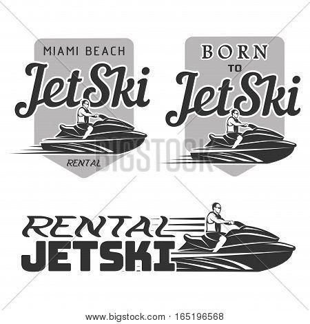 Set of Jet Ski rental logo, badges and emblems