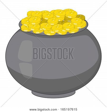 Pot of gold icon. Cartoon illustration of pot of gold vector icon for web