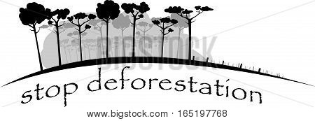 image shows felling rain forest in gray colors