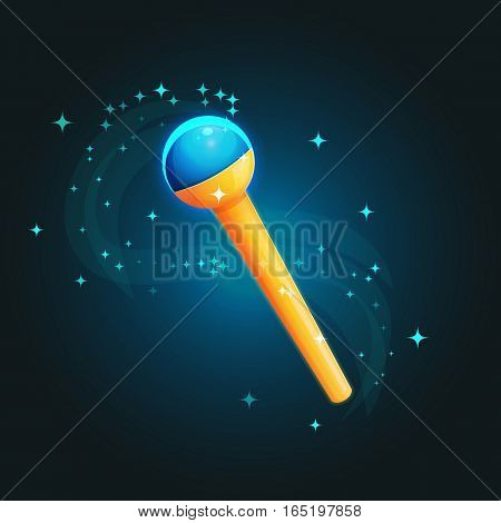 Fantasy illustration of a magic rod, staff, wand casting spells with sparkling effect. Wizard or magician magic trick accessorie. Game and app ui icons.
