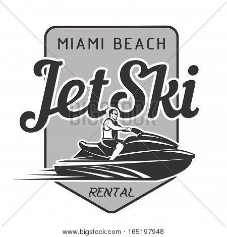 Jet Ski rental logo, badges vector illustration
