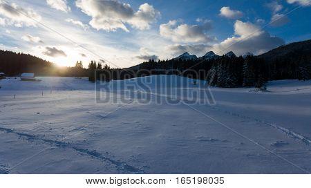 Sun rising above snow covered meadow. Planina Zajavornik, Pokljuka Slovenia.