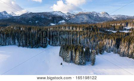 Aerial view of mountain ridge above snow covered forest. Pokljuka, Slovenia.