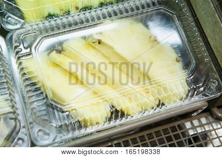 Sliced Pineapple In Plastic Container