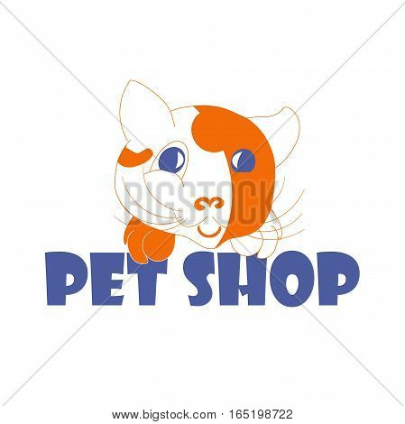 Typography banner Pet shop with red and white cartoons cat, stock vector illustration