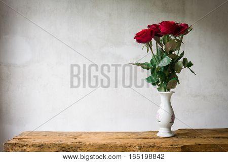 Still Life Bouquet Red Rose In Vase.