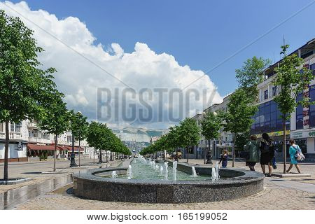 NOVOROSSIYSK RUSSIA - MAY 08.2016: Cascade of fountains on the street of Novorossiysk Republic in the Central part of the city of Novorossiysk. Russia