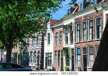 Cityscape of typical Dutch houses Netherlands Europe.