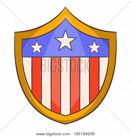American shield icon. Cartoon illustration of american shield vector icon for web