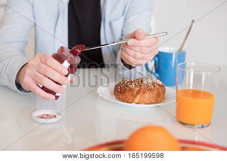 Man Hands Preparing An Healthy Breakfast In The Morning