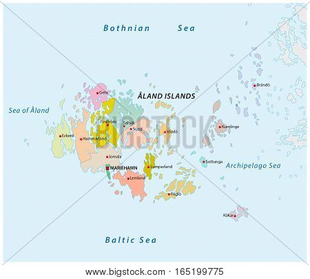 Aland islands administrative and political vector map