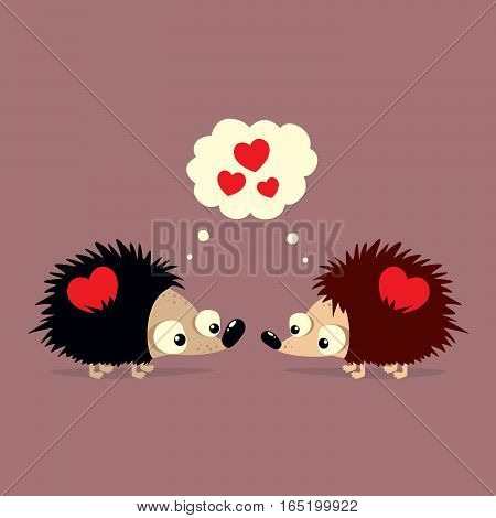 Cute Valentine's Day card with two cartoon hedgehogs falling in love with each other