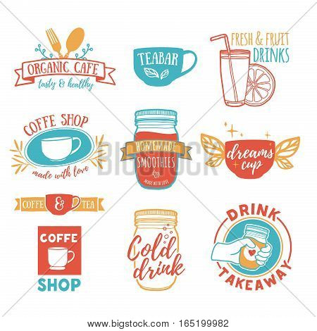 Set retro vintage logos for coffee shop, tea bar. Logo with juice, smoothies and a cup of tea. Symbol, label, badge for store with drinks. Silhouettes of utensils for the cafe, bistro.