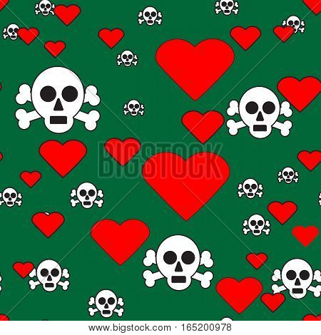 Sculls and Hearts on Green Seamless Pattern, Vector Illustration