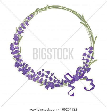 The lavender elegant card with frame of flowers and text. Floral wreath of lavender flowers isolated on white.