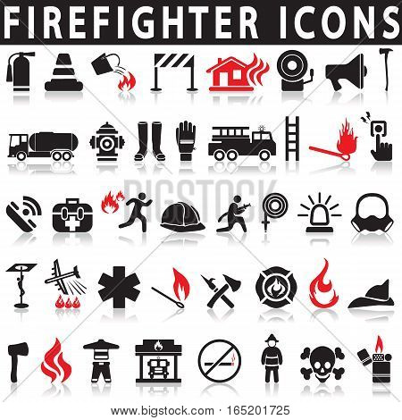 Icons set firefighter on a white background with a shadow