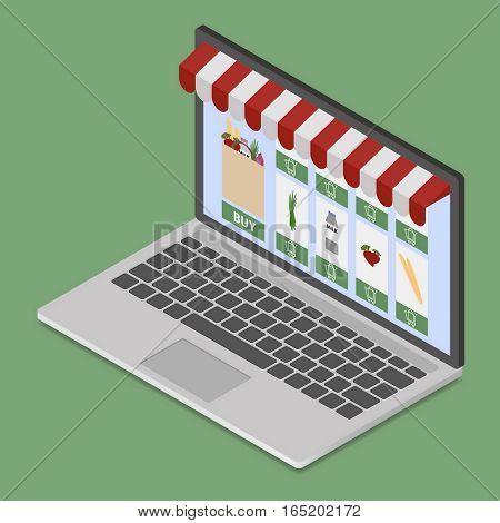 Online shop on modern laptop in isometric style. On line store. Sale, smart phone with awning on green background.