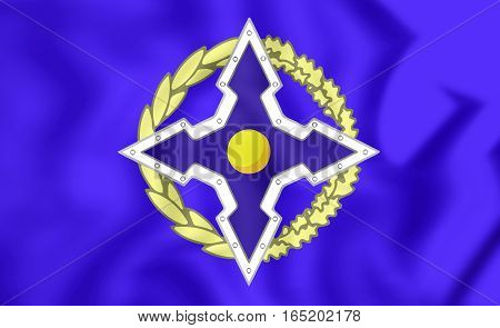 3D Flag Of Collective Security Treaty Organization. 3D Illustration.