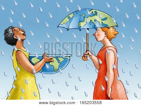 in the rain an African woman picks it up a European woman protects itself with the umbrella
