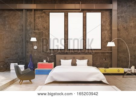 Bedroom With Black Walls And Posters, Toned