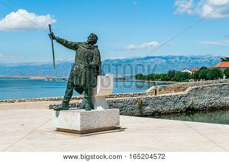 Nin, Croatia - July 30, 2015: Statue Of Croatian Duke Branimir Who Ruled In The 9Th Century At The E