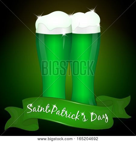 Two glasses of green beer for Saint Patrick's Day with ribbon. Background for St. Patrick's day in simple cartoon style. Vector illustration. Holiday Collection.