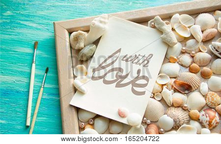 Word with LOVE arranged letter wooden background. Flat lay top view. Valentine day concept.