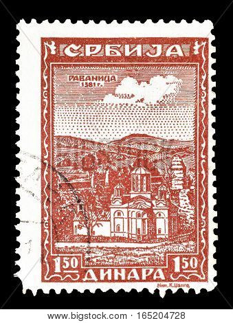 SERBIA - CIRCA 1943 : Cancelled postage stamp printed by Serbia, that shows Monastery Ravanica.