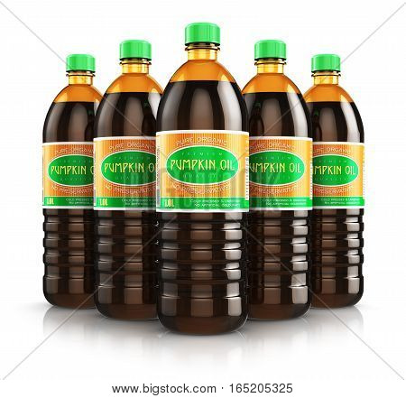 Creative abstract 3D render illustration of the group of five plastic bottles with yellow refined vegetable pumpkin seed cooking oil or organic fat isolated on white background with reflection effect