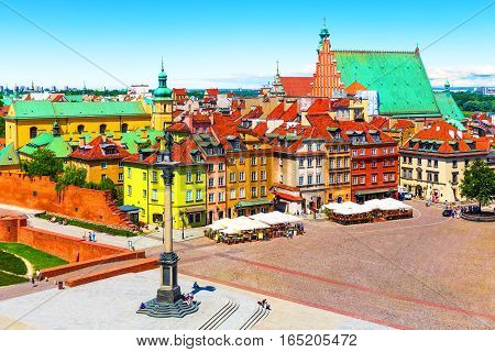 Scenic summer view of Castle Square ancient architecture with Sigismund column in the Old Town in Warsaw, Poland