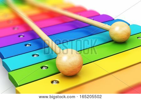 3D render illustration of colorful rainbow wooden xylophone with two wood drum sticks isolated on white background with selective focus effect