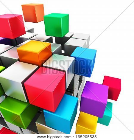3D render illustration of colorful cubic structure with assembling metallic cubes isolated on white background