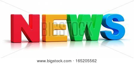 3D render illustration of color 3D News word text isolated on white background with reflection effect