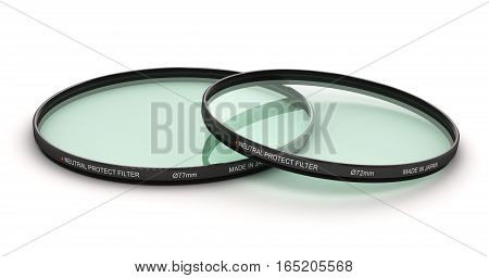 3D render illustration of the group of various diameter circular neutral density UV polarizer or polarizing protect type optical glass filters accessory for digital photo camera or video camcorder lens isolated on white background
