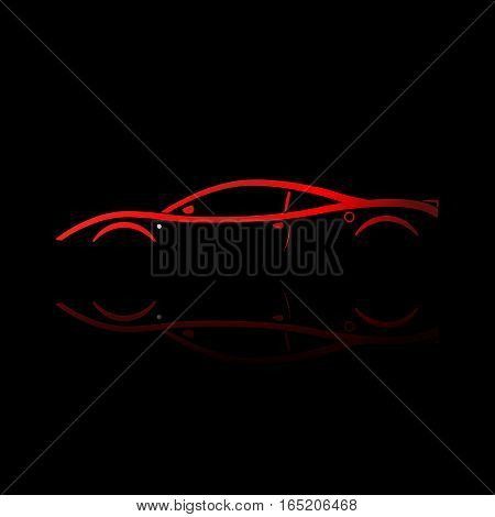 Red sport car silhouette with reflection on black background. Vector illustration.