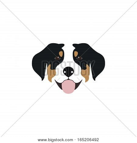 Vector illustration Swiss Mountain Dog head with his tongue hanging out.