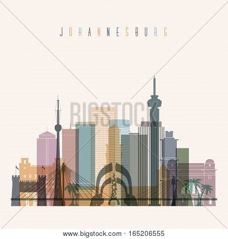 Transparent style Johannesburg skyline detailed silhouette. Trendy vector illustration.