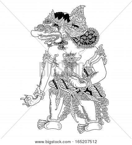 Aswanikumba, a character of traditional puppet show, wayang kulit from java indonesia.