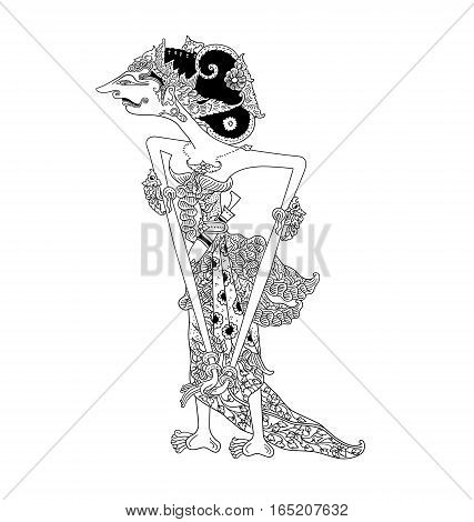 Endang Suwarsih, a character of traditional puppet show, wayang kulit from java indonesia.