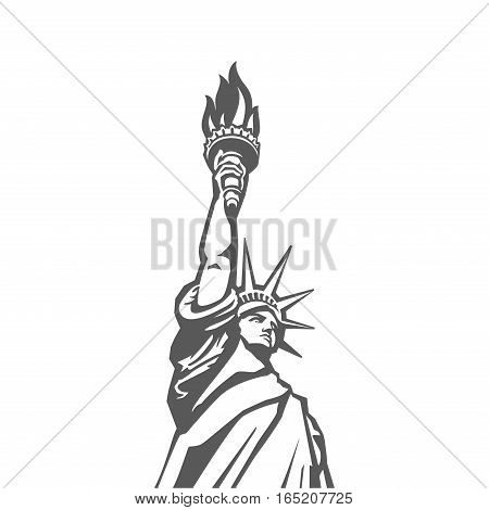 Liberty statue monument vector silhouette. USA New York Patriotic symbol design element.