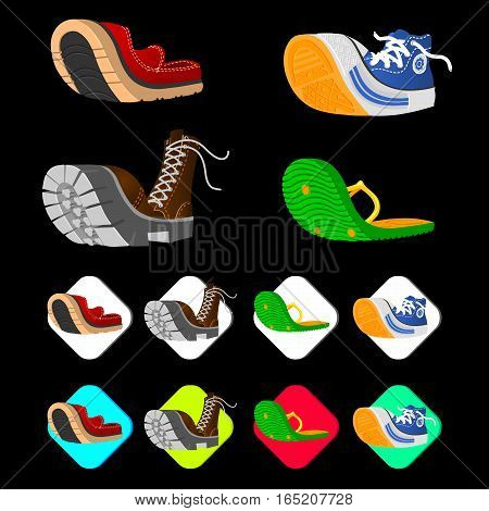 Shoe icons set in isometric 3d style. Men shoes set collection vector illustration