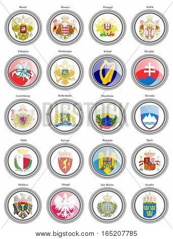 Set Of Icons. Coat Of Arms Of The European Countries.