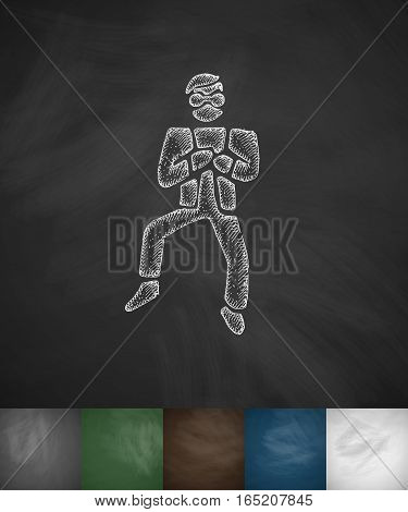 Korean dancing icon. Hand drawn vector illustration. Chalkboard Design
